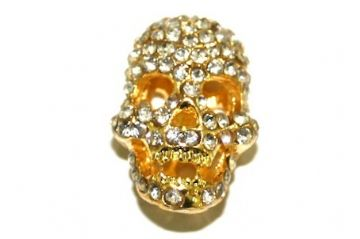 Gold Plated Metal Skull Beads - Suitable For pave crystal Bracelets - Set With Rhinestones